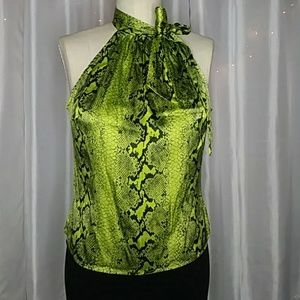 Bebe Green Snakeskin Halter top